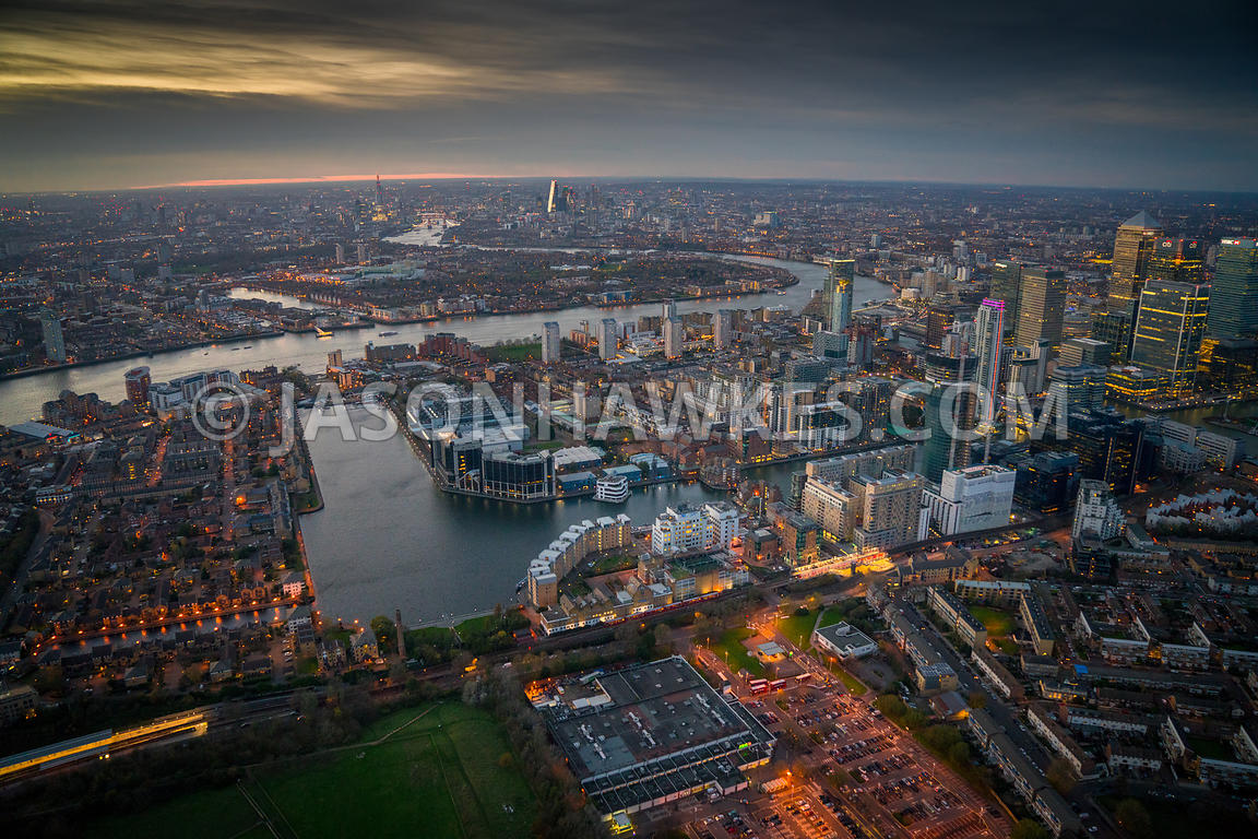 Dusk aerial view, Millwall (London), Baltimore Wharf, Millwall Inner Dock