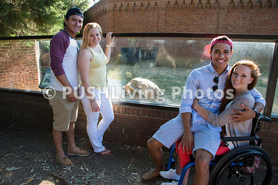 Young woman in a wheelchair with her friends on a day out at the Zoo