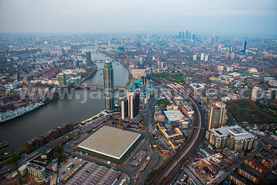 Aerial view of Nine Elms regeneration site at dusk, London