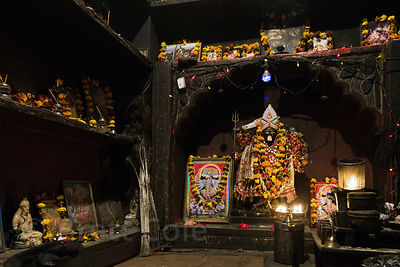 Shiva and Hanuman are worshipped in a small temple  in Kharekhari village, Rajasthan, India