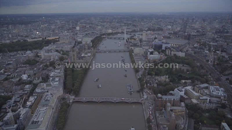 Aerial footage of the River Thames and Central London