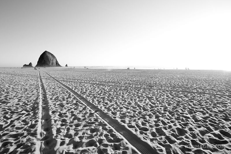HAYSTACK ROCK CANNON BEACH OREGON COAST BLACK AND WHITE