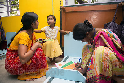 A girls height is measured as part of malnutrition program at the Swastha Kendra clinic operated by the NGO Calcutta Kids (ca...