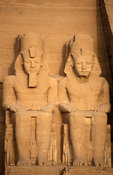 Abu Simbel, facade of the main temple, 2 of the 4 colossal statues of Rameses II, Egypt