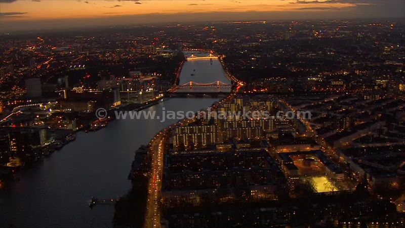 Aerial footage of Pimlico and the surrounding areas at night, London