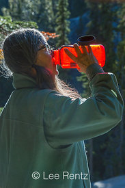 Karen Rentz Drinking Mountain Water in The Enchantments