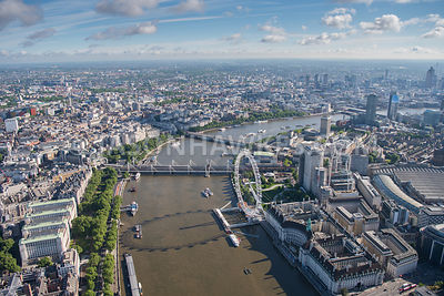 Aerial view of London Victoria Embankment and London Eye