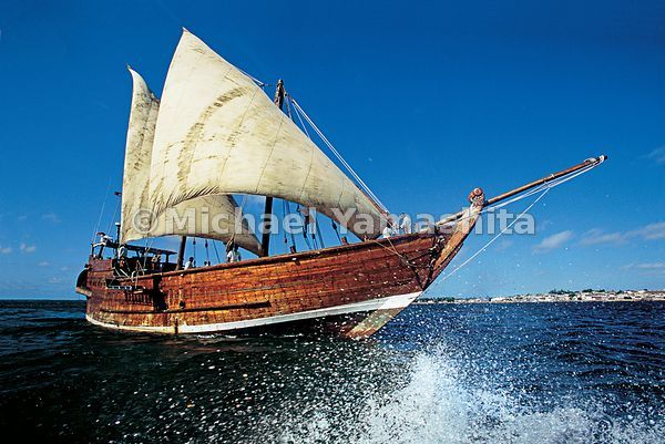 The Sanjeeda, one of the last great sailing adhows, catches the wind off the Swahili coast of Kenya.