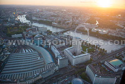 Aerial view of Waterloo at sunset, London