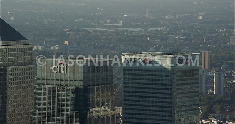 London Aerial Footage close up of Canary Wharf towers.