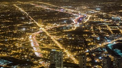 Bird's Eye: Snaking Kennedy Expressway Cuts Through Chicago In Lights