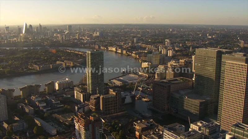 Aerial footage of Millwall and Canary Wharf, London