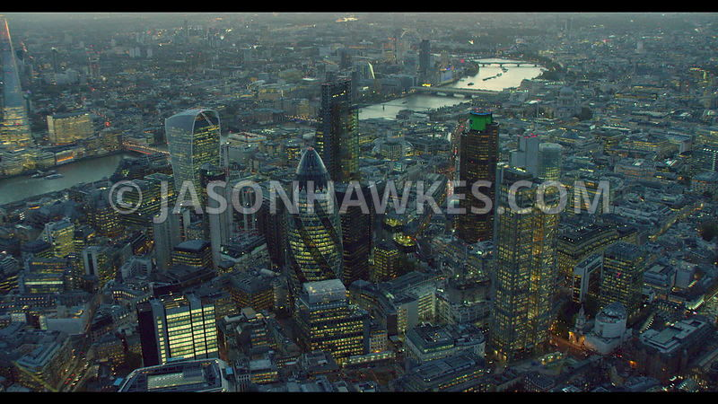 Aerial footage of the City of London, London. Swiss Re Tower. Leadenhall Building, Heron Tower, 20 Fenchurch St. The Square M...