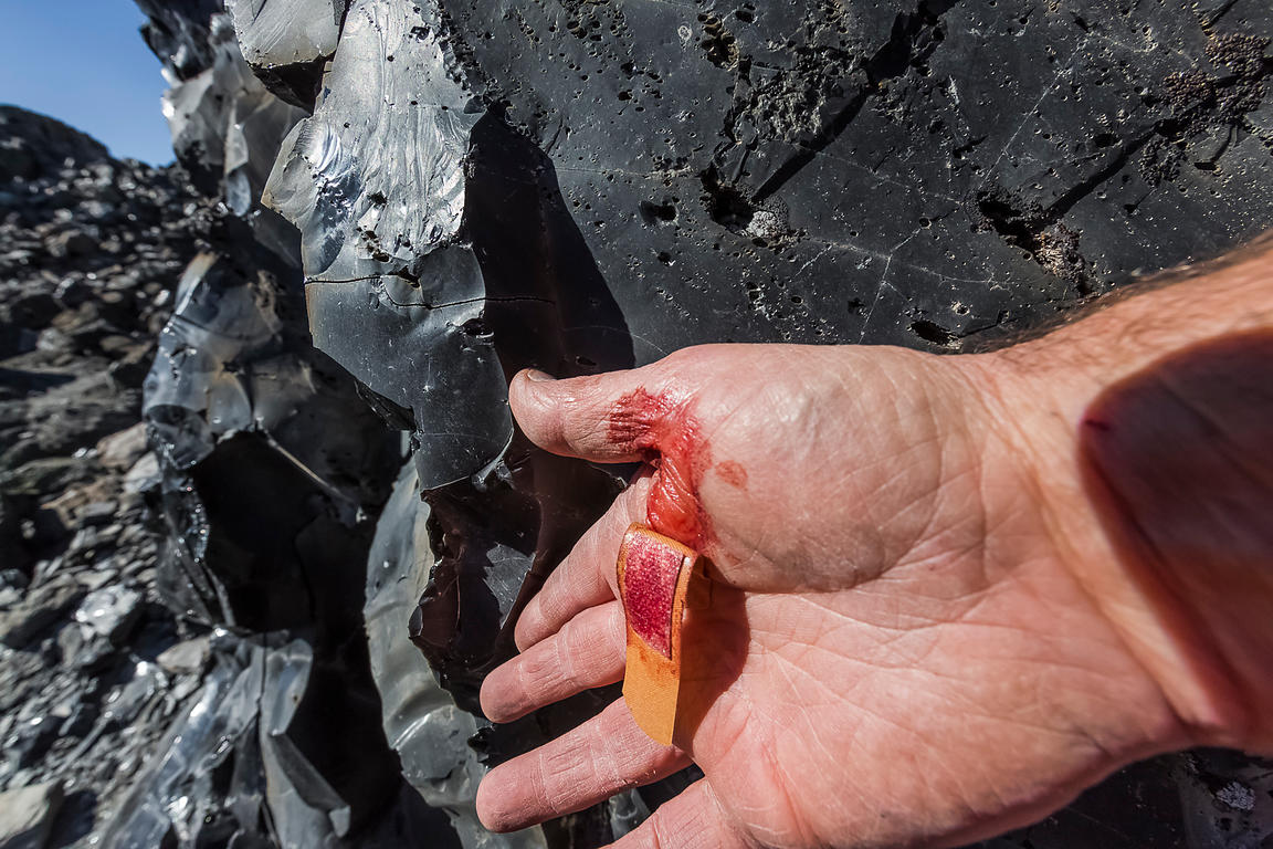 Hand Cut by Obsidian in Newberry National Volcanic Monument