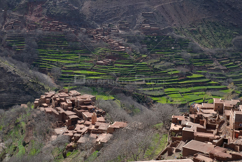 Villages and terraces, Azzadene Valley, High Atlas Mountains, Morocco. March 2006.