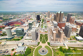 DOWNTOWN SAINT LOUIS MISSOURI AERIAL VIEW COLOR
