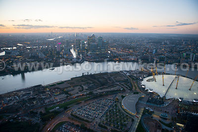 Aerial view of Greenwich Peninsula at dusk, London
