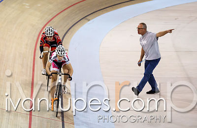 Katherine Maine leading Candice Vermeulen in a sprint heat at the Track Ontario Cup #1, Mattamy National Cycling Centre, Milt...
