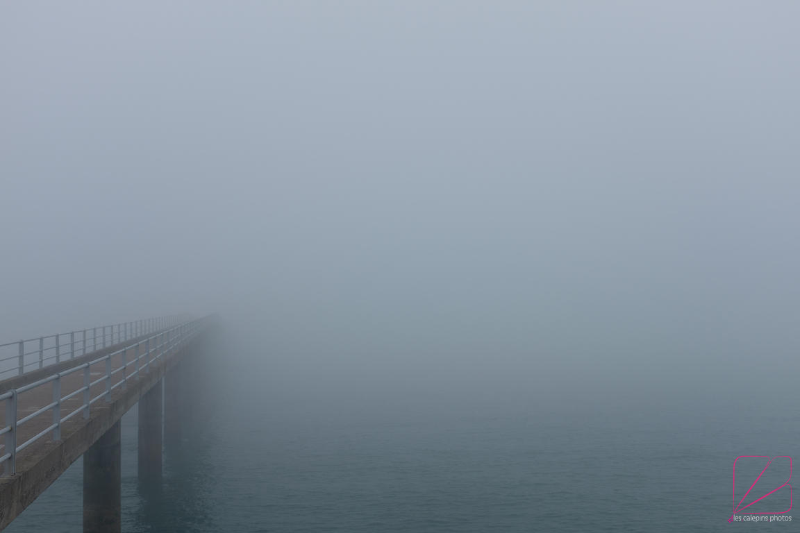 Roscoff's pier vanishes in the fog