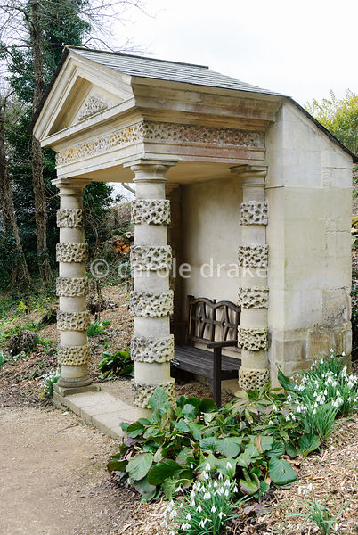 The Doric Seat, originally the porch on the Pigeon House but moved in the Victorian period to replace a rustic feature now lo...