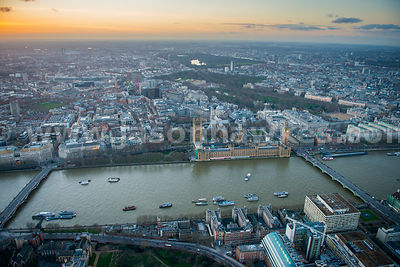 Aerial view of The Houses of Parliament and Westminster, London