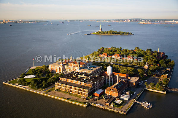 An aerial view of Ellis Island, where between 1890 and 1954, 12 million immigrants were processed after arriving on ships.  T...