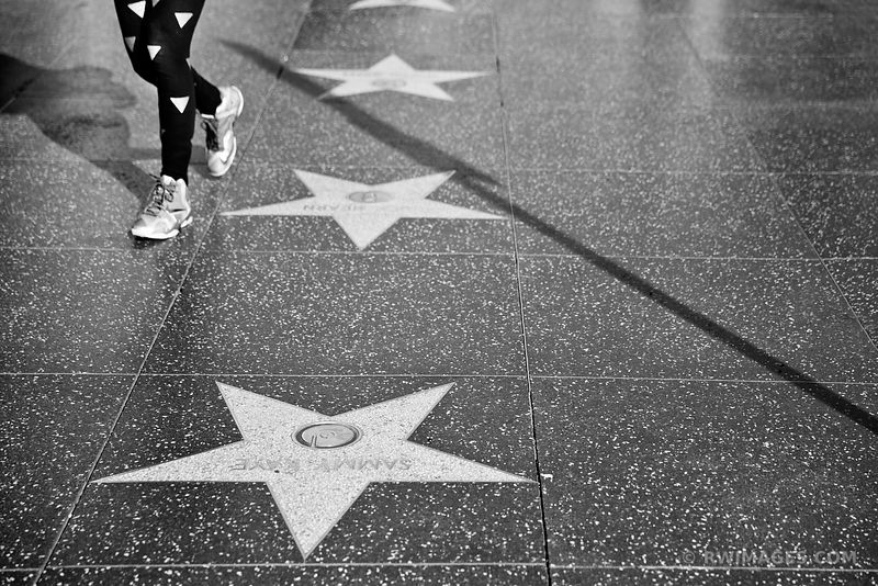 WALK OF FAME HOLLYWOOD CALIFORNIA BLACK AND WHITE