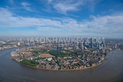 London, aerial view of the Isle of Dogs
