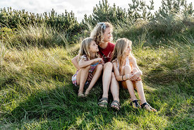 Danish mother and daughters in the dunes in Klitmøller