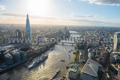 Aeril view of the River Thames and The Shard, London