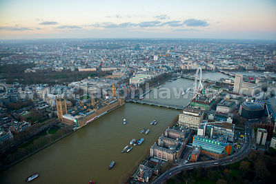 Aerial view of the Houses of Parliament at dusk, London