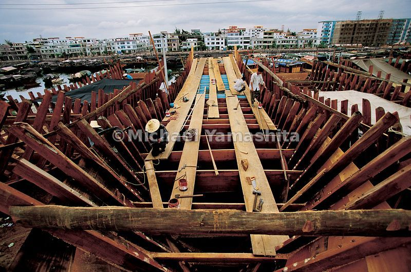 These are the last of the wooden junks on Hainan Island, as China banned the use of wood as a building material for fishing b...