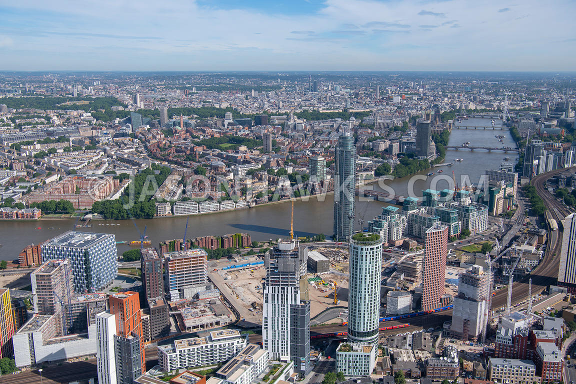 London, aerial view of Nine Elms