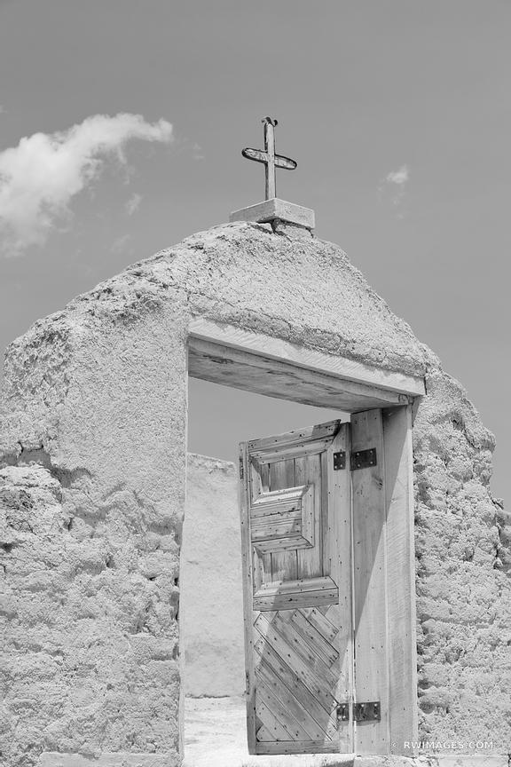 ADOBE ARCHITECTURE SAN JOSE DE GRACIA CHURCH LAS TRAMPAS HIGH ROAD TO TAOS NEW MEXICO BLACK AND WHITE VERTICAL