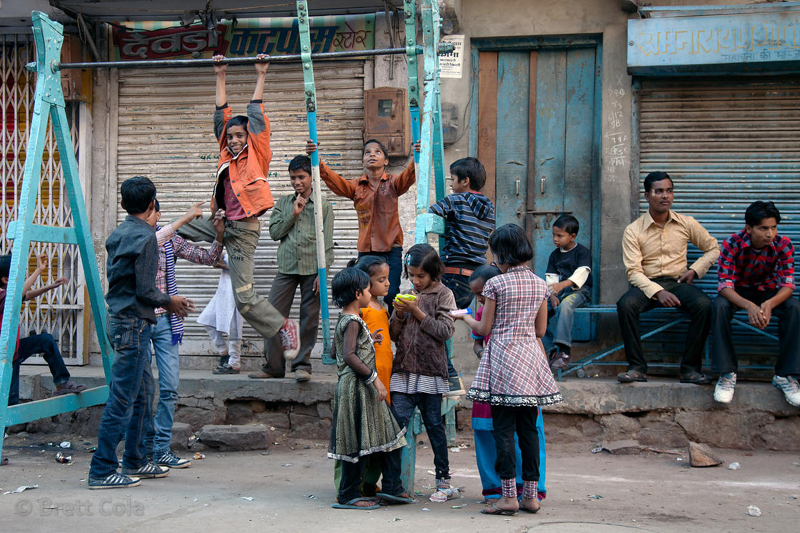 Children play on a swing during the Muharram festival in Jodhpur, Rajasthan, India