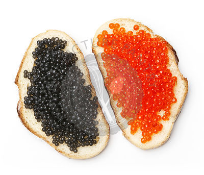sandwiches with black and red caviar on white background