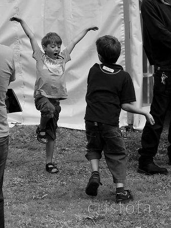 Boys playing at the Hidden Arts' Design Fair at Godolphin House