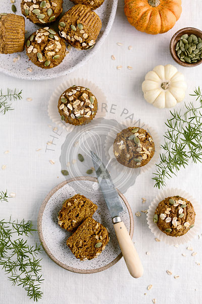 Maple Sweetened Pumpkin Oat Muffins