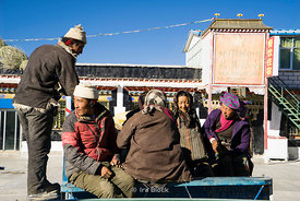 Villagers in the town of Tingri, Tibet.