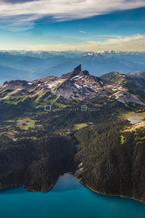 Aerial photo of The Black Tusk Mountain in Garibaldi, BC, Canada.