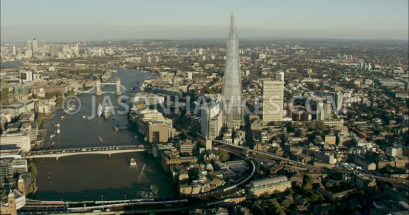 London Aerial Footage of The Shard and City of London Skyline
