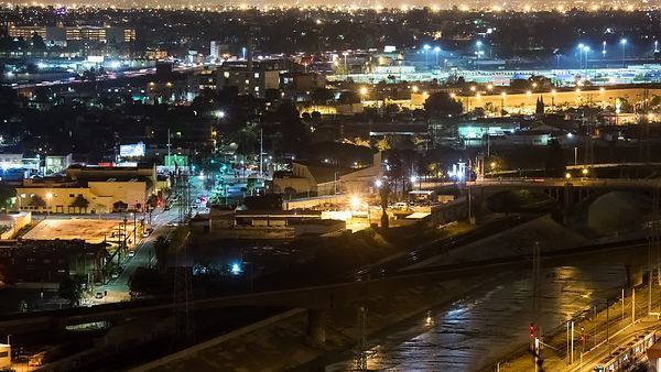 Bird's Eye: Night Time Train & Car Crossings Over Los Angeles Viaduct