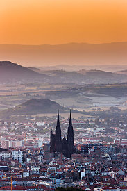 Clermont Ferrand and its gothic cathedral at sunrise