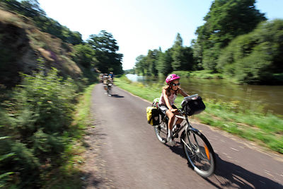 Biking along the Nantes-Brest canal near Roc-Sain Andrew.