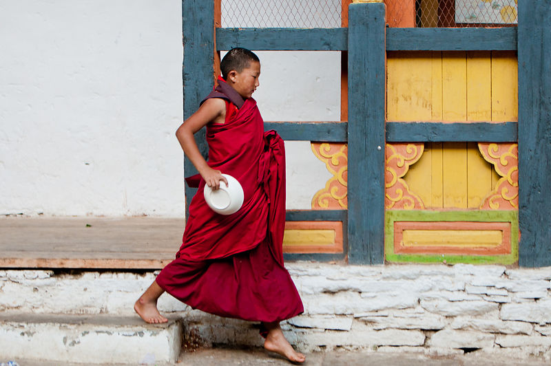 A young buddhist monk runs to get food.