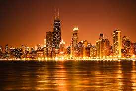 Downtown Chicago at Night with Chicago Skyline