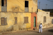 old colonial houses line the streets of St-Louis, Senegal