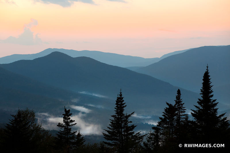 AFTER SUNSET WHITE MOUNTAINS RIDGES KANCAMAGUS HIGHWAY NEW HAMPSHIRE FALL COLORS LANDSCAPE