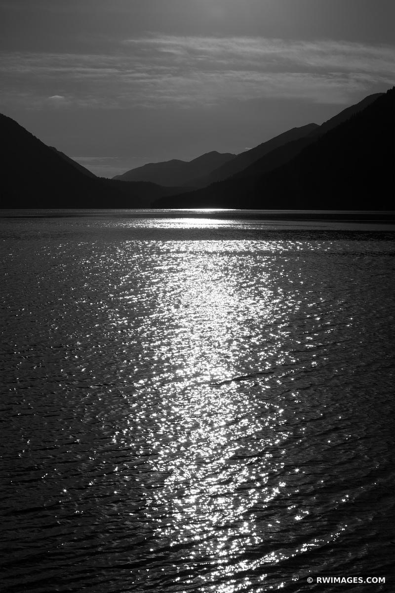 LAKE CRESCENT OLYMPIC NATIONAL PARK WASHINGTON BLACK AND WHITE VERTICAL
