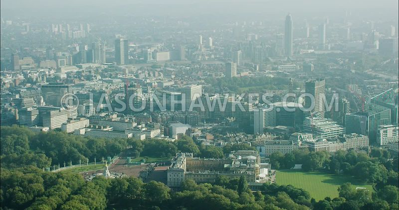 London Aerial Footage of Buckingham Palace.